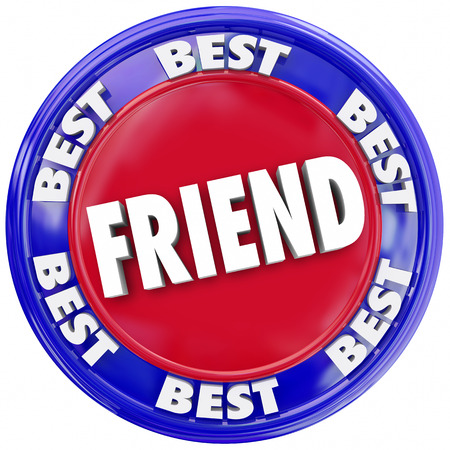 favored: Friend word symolizing friendship in a seal or button, circular symbol