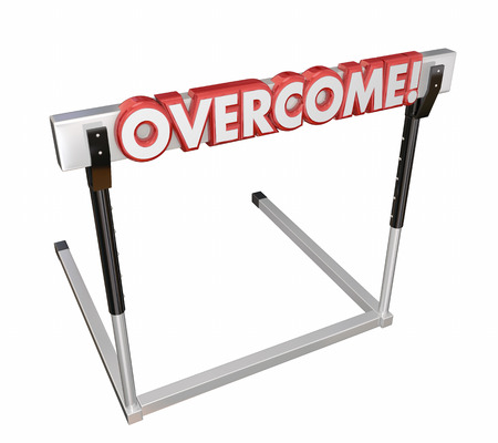 Overcome 3d word to illustrate jumping over an obstacle or challenge