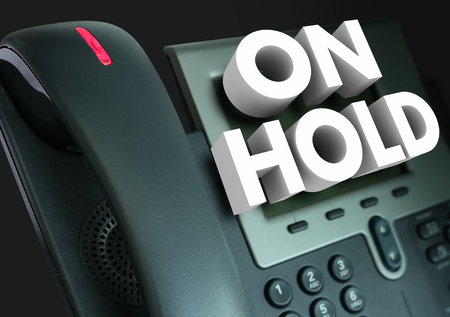 caller: On Hold 3d words for waiting for assistance, help or service with great frustration Stock Photo