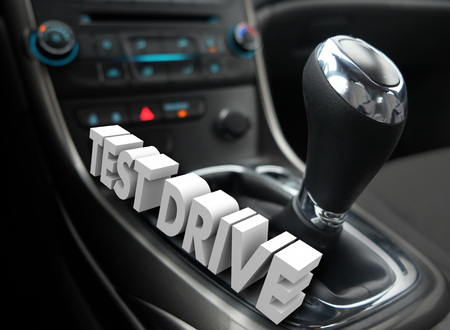 Test Drive words in 3d letters on a car, auto or vehicle cockpit for evaluation or review