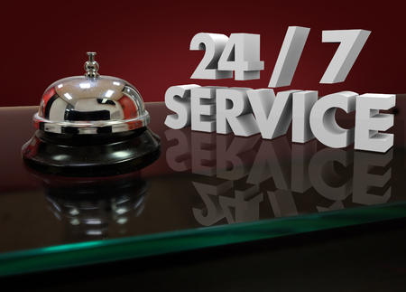 24 hour: 24 7 Service Numbers in 3d Characters on a front desk or counter for help or assistance that is open all night and every day