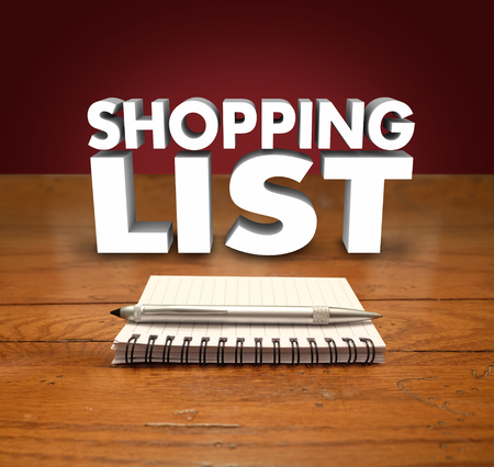 reminders: Shopping List 3d words over a notepad with pen to illustrate reminders to buy or purchase needed items
