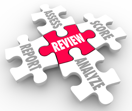 to assess: Review, Report, Assess, Analyze and Score words on five puzzle pieces to illustrate evaluation or rating performance Stock Photo