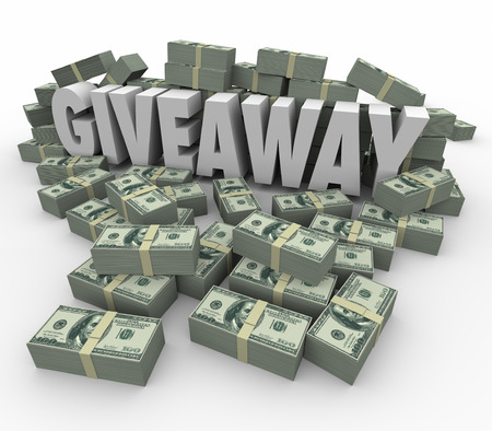 stack of cash: Giveaway 3d word surrounded by money or cash piles to illustrate a huge lottery, jackpot or cash winnings