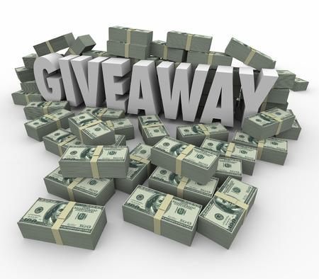 cash money: Sorteo palabra 3d rodeado por dinero en efectivo o pilas para ilustrar un enorme loter�a, bote o en efectivo ganancias