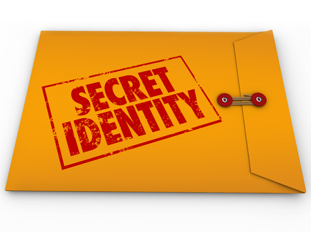 private information: Secret Identity words stamped in red grunge style ink on a yellow envelope to illustrate confidential or classified information