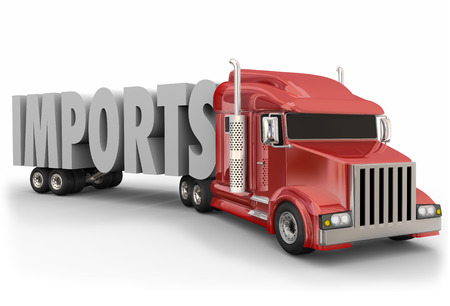 imports: Imports 3d word on a red truck tractor trailer to illustrate international shipping of merchandise and goods