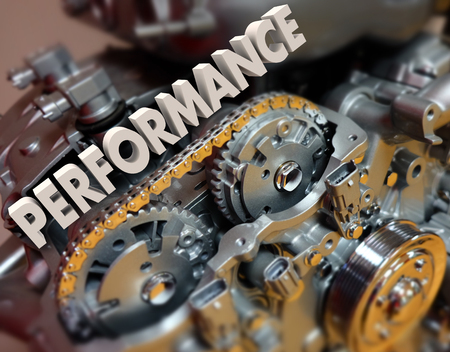 built: Performance word in 3d letters on a car or automotive engine or motor with great speed, driving or racing ability
