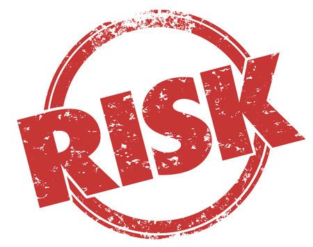 Risico woord in grunge rode inkt stijl gestempeld gevaar of de verplichting die moeten worden verholpen, voorkomen of verminderd illustreren Stockfoto