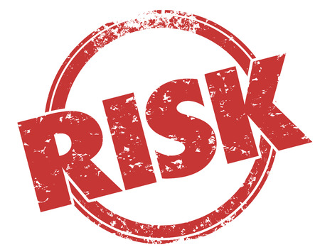 peril: Risk word stamped in grunge red ink style to illustrate danger or liability that should be mitigated, avoided or reduced