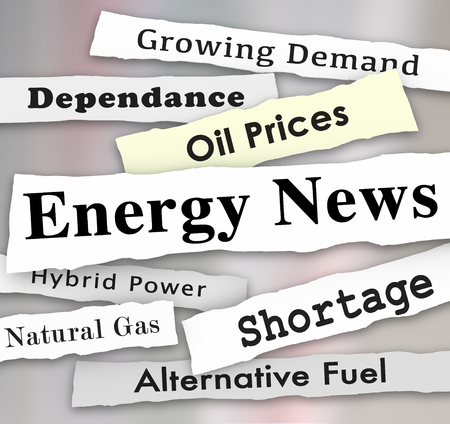 dependance: Energy News words on newspaper headlines torn from media to illustrate important or urgent announcements on power industry issues Stock Photo