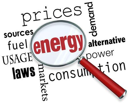 가격, 소스, 연료, 사용법, 법률, 시장, 소비, 전력, 대안 및 수요와 같이 다른 용어로 둘러싼 magnifing glass 아래의 에너지 단어