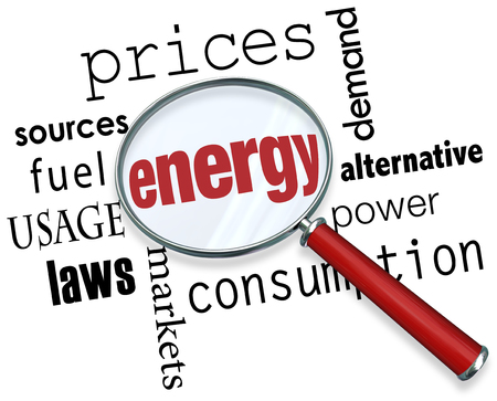 dependance: Energy word under a magnifing glass with other terms around it like prices, sources, fuel, usage, laws, markets, consumption, power, alternative and demand