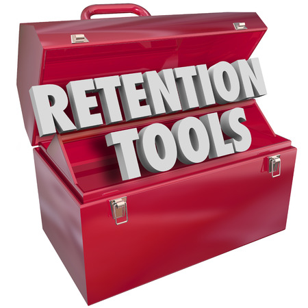 metal tips: Retention Tools words in a red metal toolbox to offer resources, tips or advice for keeping or holding on to customers, employees or audience Stock Photo