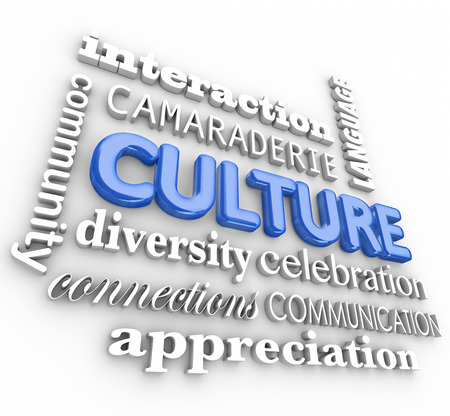 shared sharing: Culture word in blue 3d letters surrounded by related terms like community, diversity, interaction, language and communication