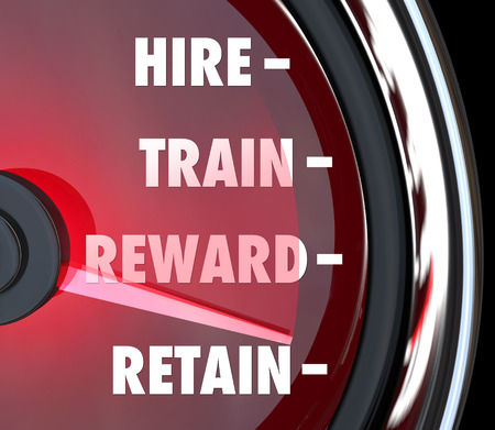 Hire Train Reward Retain words on a red speedometer to illustrate human resources best practices processes for new employees