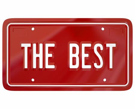 De beste woorden op een rode ijdelheid nummerplaat om trots te illustreren in het besturen van de top beoordeeld of nominale auto, auto's of auto's Stockfoto