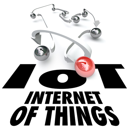 computerization: IOT Internet of Things words under a group of objects or balls connected by arrows, netowrk or technology