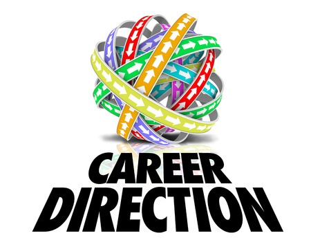 advancement: Career Direction words under a ball or sphere of color bands with arrows symbolizing job promotion or advancement goals