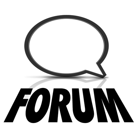inform information: Forum word under a speech bubble to illustrate talking, speaking, sharing information and communication Stock Photo