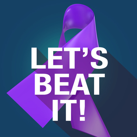 beat: Lets Beat It Words on a violet or purple ribbon symbolizing Alzheimers or cancer awareness and fundraising campaign, in long shadow symbol