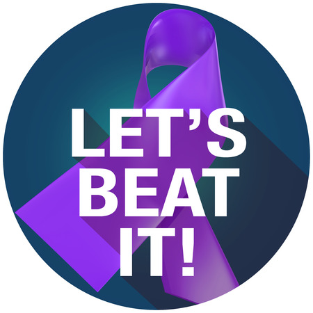 cystic: Lets Beat It Words on a violet or purple ribbon symbolizing Alzheimers or cancer awareness and fundraising campaign, in long shadow symbol