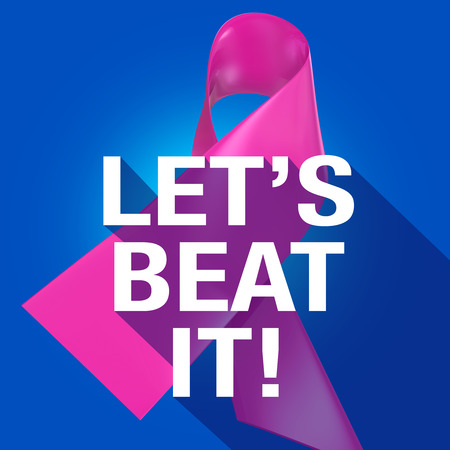 fighting cancer: Lets Beat It Words on a pink ribbon symbolizing breast cancer for awareness and fundraising campaign, in long shadow symbol