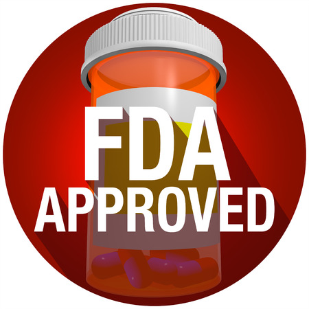 evaluated: FDA Approved words on an orange pill or medicine bottle with long shadow