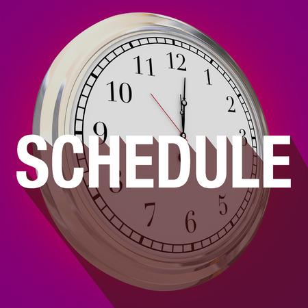 cronogramas: palabra horario con larga sombra sobre un reloj para ilustrar el tiempo o un recordatorio para una reunión importante o una cita