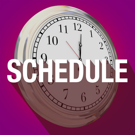 schedule: Schedule word with long shadow over a clock to illustrate time or reminder for an important meeting or appointment