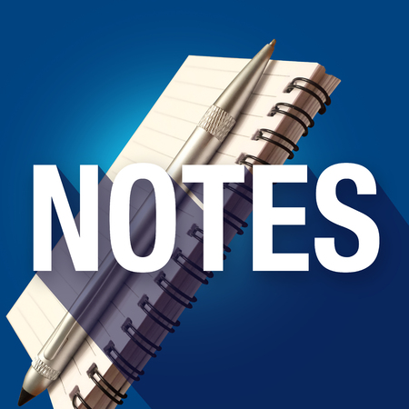 jot: Notes word with long shadow over notepad and pen to illustrate writing important reminders