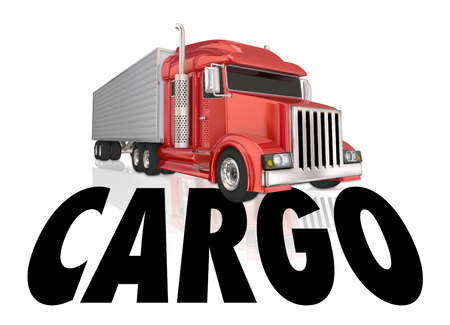 18 wheeler: Cargo word below a tractor trailer hauling goods, products and merchandise as a shipment Stock Photo
