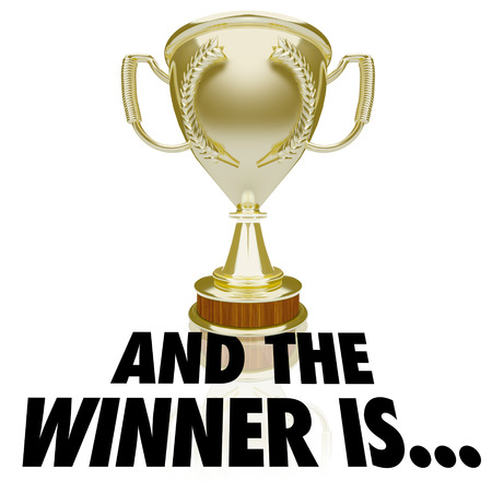 finalist: And the Winner Is words beneath a gold trophy, prize or award for announcement or ceremony