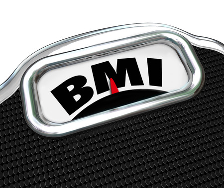 BMI acronym for Body Mass Index measurement on a scale to evaluate or test your fitness level Stock Photo