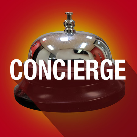 curator: Concierge word with long shadow over a bell to ring for help, support or assistance