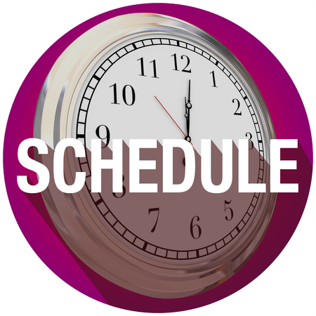 important reminder: Schedule word with long shadow over a clock to illustrate time or reminder for an important meeting or appointment