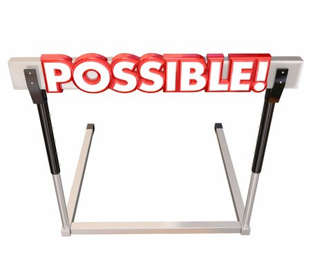feasible: Possible word in red 3d letters on a hurdle to illustrate jumping over an obstacle to achieve a goal or realize an opportunity