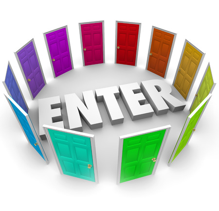 Enter 3d word surrounded by colored doors to unlock and access an area inside