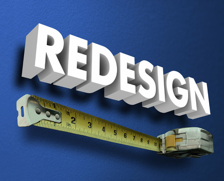 redesign: Redesign word in 3d letters on a blue wall with measuring tape to illusrate interior design, decor, decorating and renovation