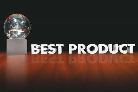 decide deciding: Best Product words in 3d letters beside an award, trophy or prize for the favorite, best reviewed or top recommended choice or option Stock Photo