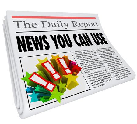 Nieuws u kunt gebruiken woorden in een krantenkop nuttige informatie en communicatie te illustreren