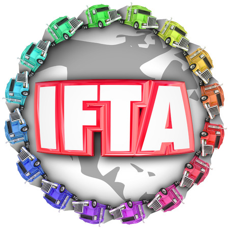 exporter: IFTA letters for acronym or abbreviation of International Fuel Tax Agreement on a globe with trucks around it for international imports or exports of shipments Stock Photo