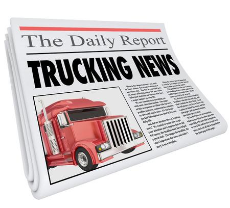 comunicarse: palabras de transporte por carretera de las noticias: titular de un periódico para ilustrar la información urgente o importante comunicar a los conductores y la industria de la logística Foto de archivo