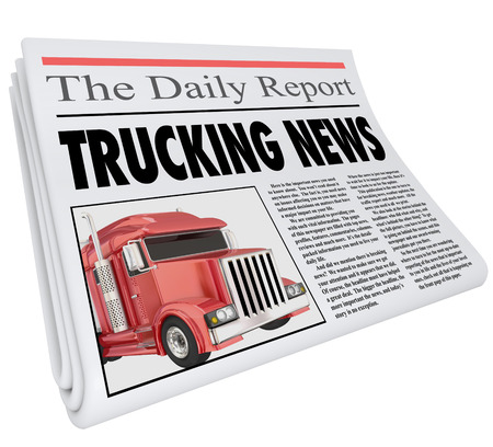 important information: Trucking News words on newspaper headline to illustrate urgent or important information to communicate to drivers and the logistics industry