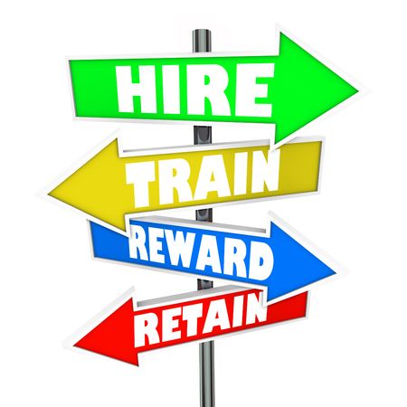 satisfying: Hire, Train, Reward and Retain words on arrow signs to illustrate human resources challenges in interviewing and retention of new employees Stock Photo