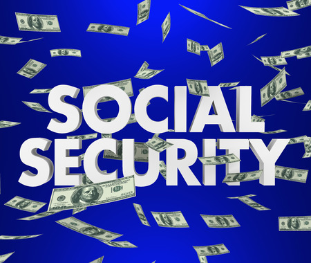 recourse: Social Security 3d words and falling money to illustrate retirement, savings and living on a fixed income