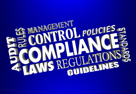 regulated: Compliance 3d words collage with laws, regulations, rules, audit, guidelines, policies and standards Stock Photo
