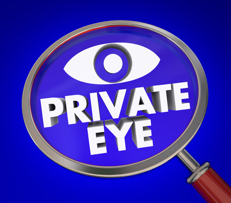 clues: Private Eyes words under magnifying glass to illustrate an investigator searching for clues or evidence Stock Photo