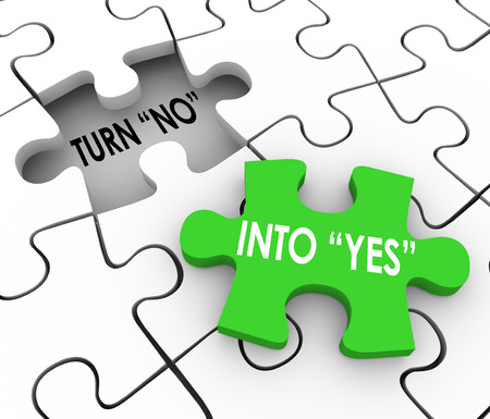 Turn No Into Yes words in a puzzle to illustrate convincing or persuading others to join you in agreement Stock Photo