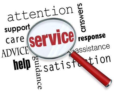 Service word under magnifying glass with terms like answers, response, assistance, satisfaction, guidance, help, advice, care, support and attention Imagens - 51930946